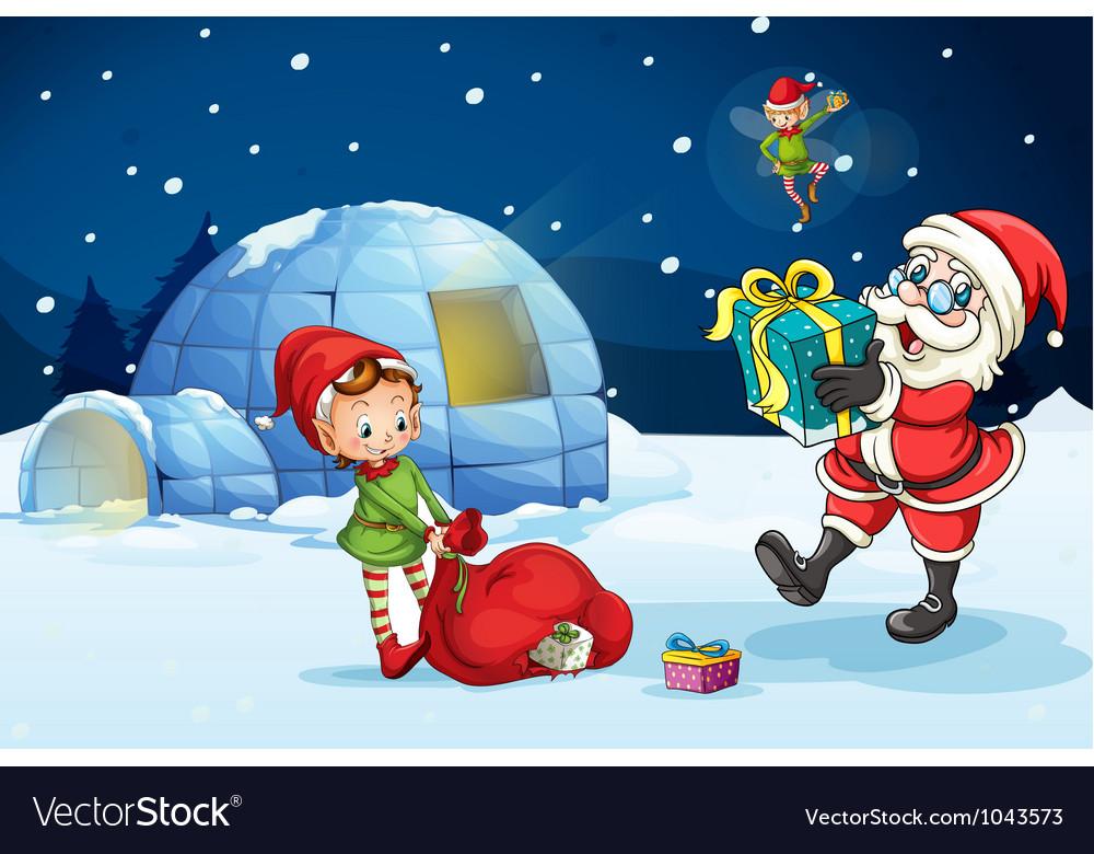 Christmas santa igloo vector | Price: 1 Credit (USD $1)