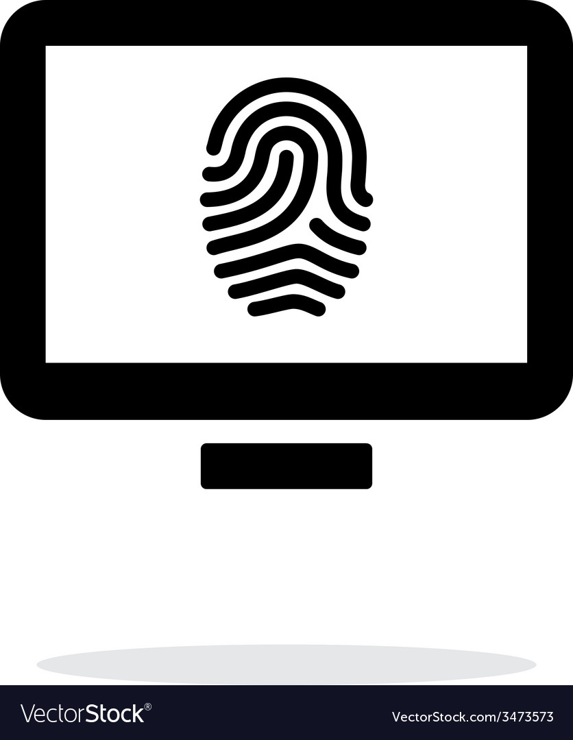 Desktop fingerprint icon on white background vector | Price: 1 Credit (USD $1)