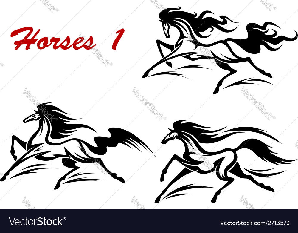 Horse stallions mascots and tattoos vector | Price: 1 Credit (USD $1)