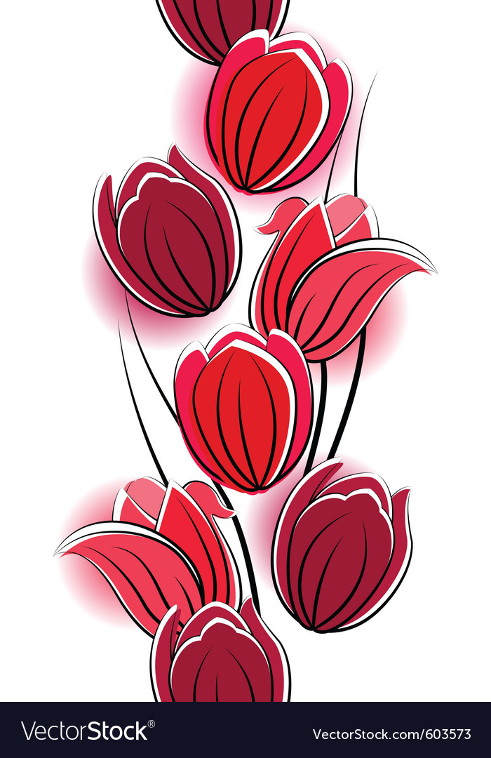 Seamless vertical border with red tulips vector | Price: 1 Credit (USD $1)