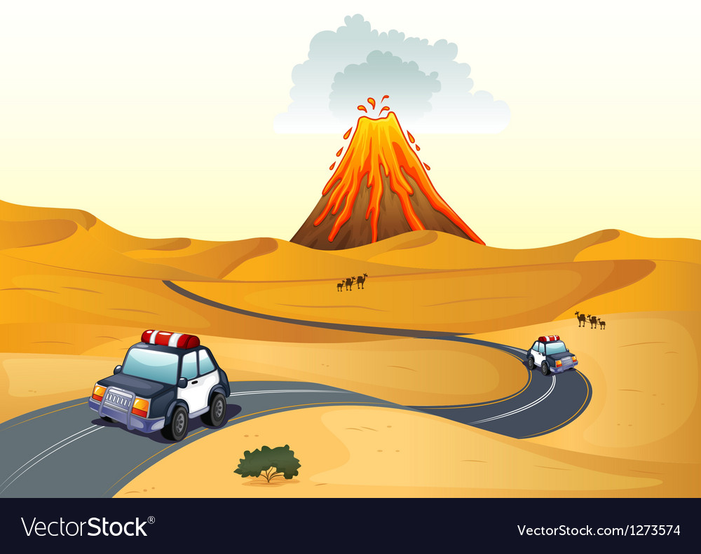 A desert with two patrol cars vector | Price: 1 Credit (USD $1)