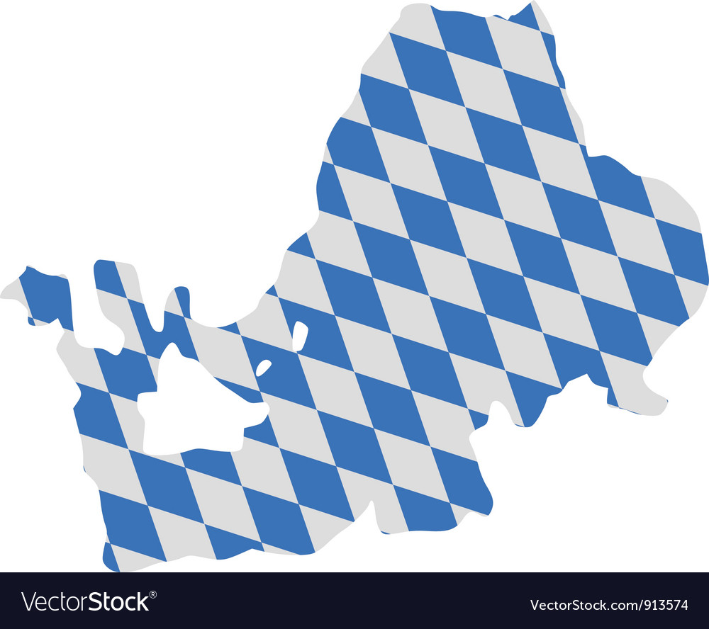 Bavarian flag and map of lake chiemsee vector | Price: 1 Credit (USD $1)