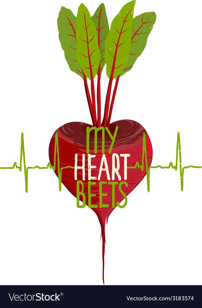 Beetroot heart shape motivational vegetable vector | Price: 1 Credit (USD $1)
