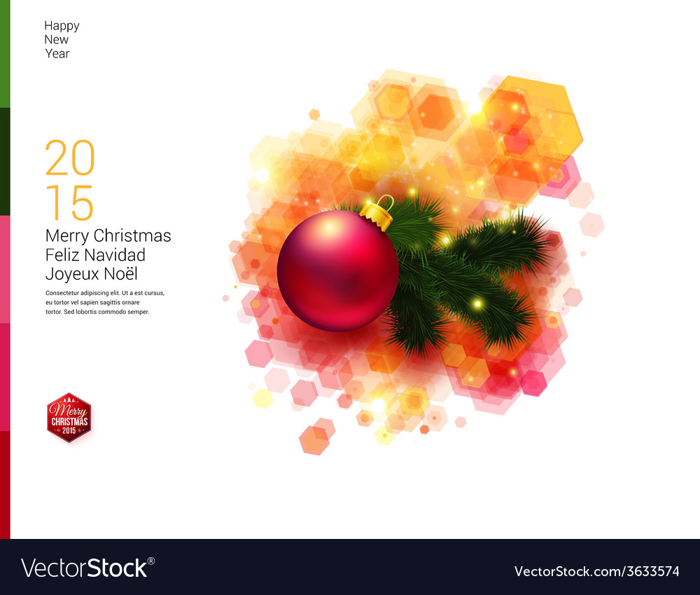 Bright christmas card with realistic decoration vector | Price: 1 Credit (USD $1)