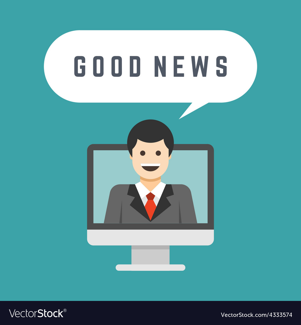 Business man from monitor screen talk good news vector