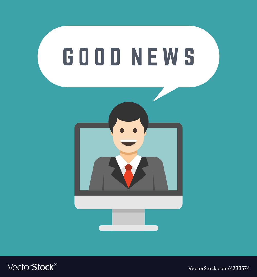 Business man from monitor screen talk good news vector