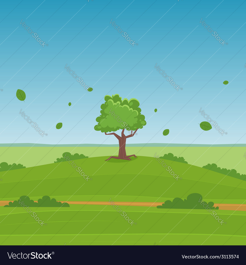 Cartoon landscape vector | Price: 1 Credit (USD $1)