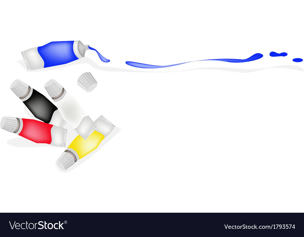 Color tube of primary colors with white and black vector | Price: 1 Credit (USD $1)