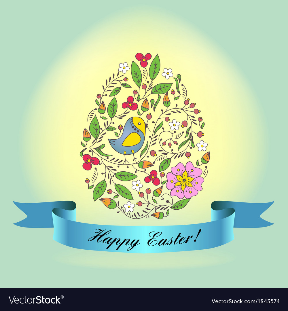 Easter bird blue vector | Price: 1 Credit (USD $1)