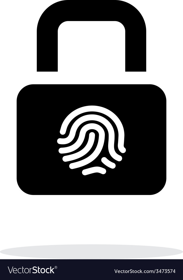 Fingerprint secure lock icon on white background vector