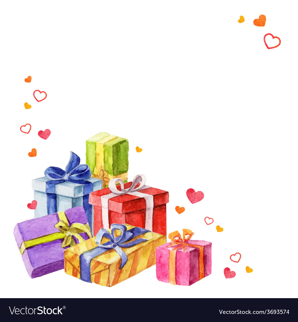 Gifts for valentines day watercolor vector   Price: 1 Credit (USD $1)