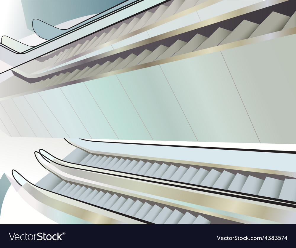 Many escalators indoor view from above vector | Price: 3 Credit (USD $3)