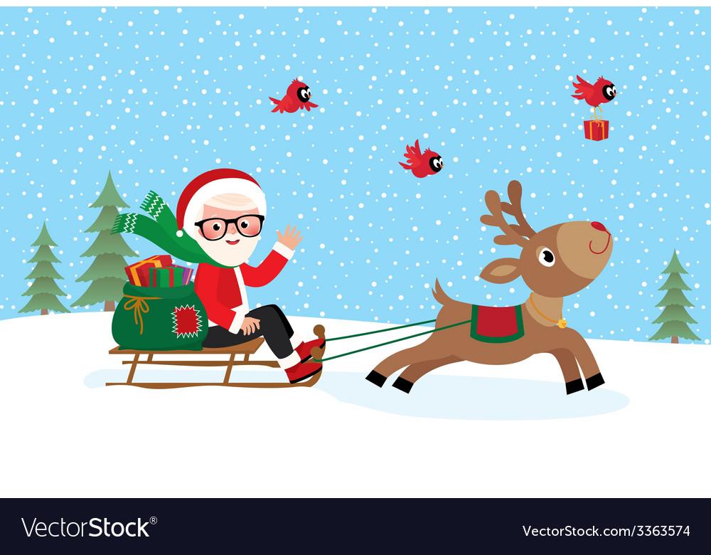 Santa claus on sledge vector