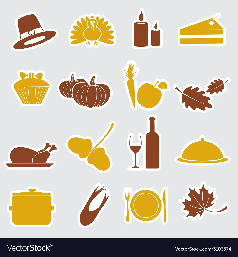 Thanksgiving stickers color set eps10 vector | Price: 1 Credit (USD $1)