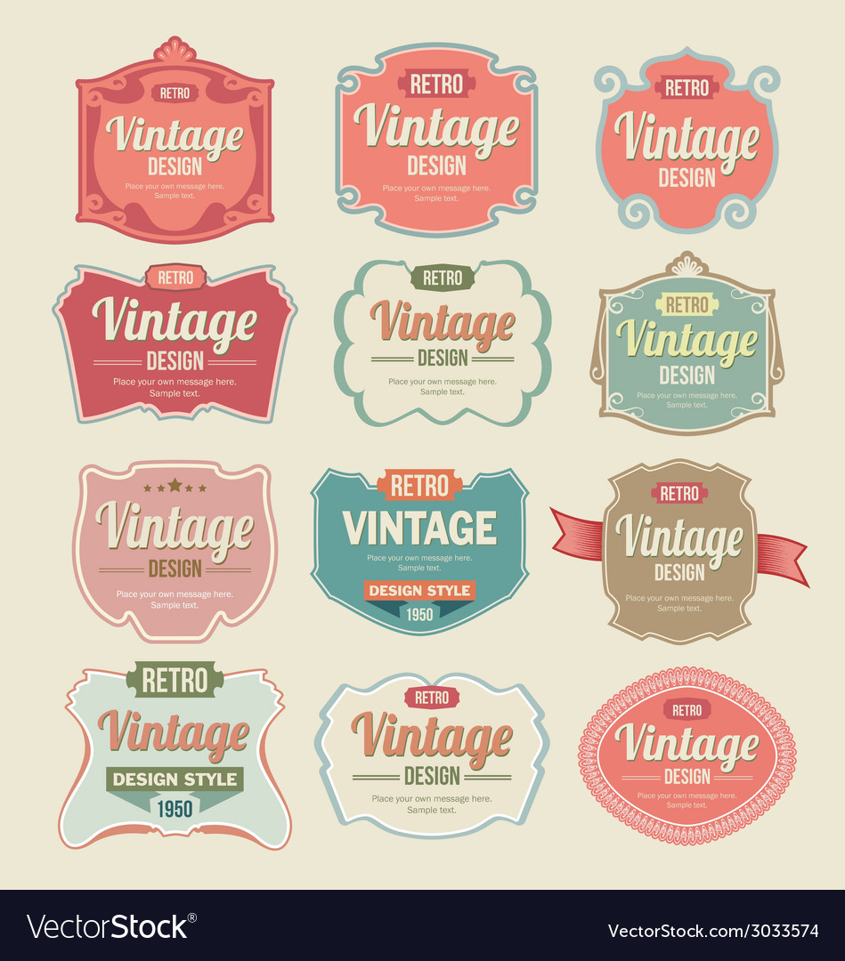 Vintage retro labels vector
