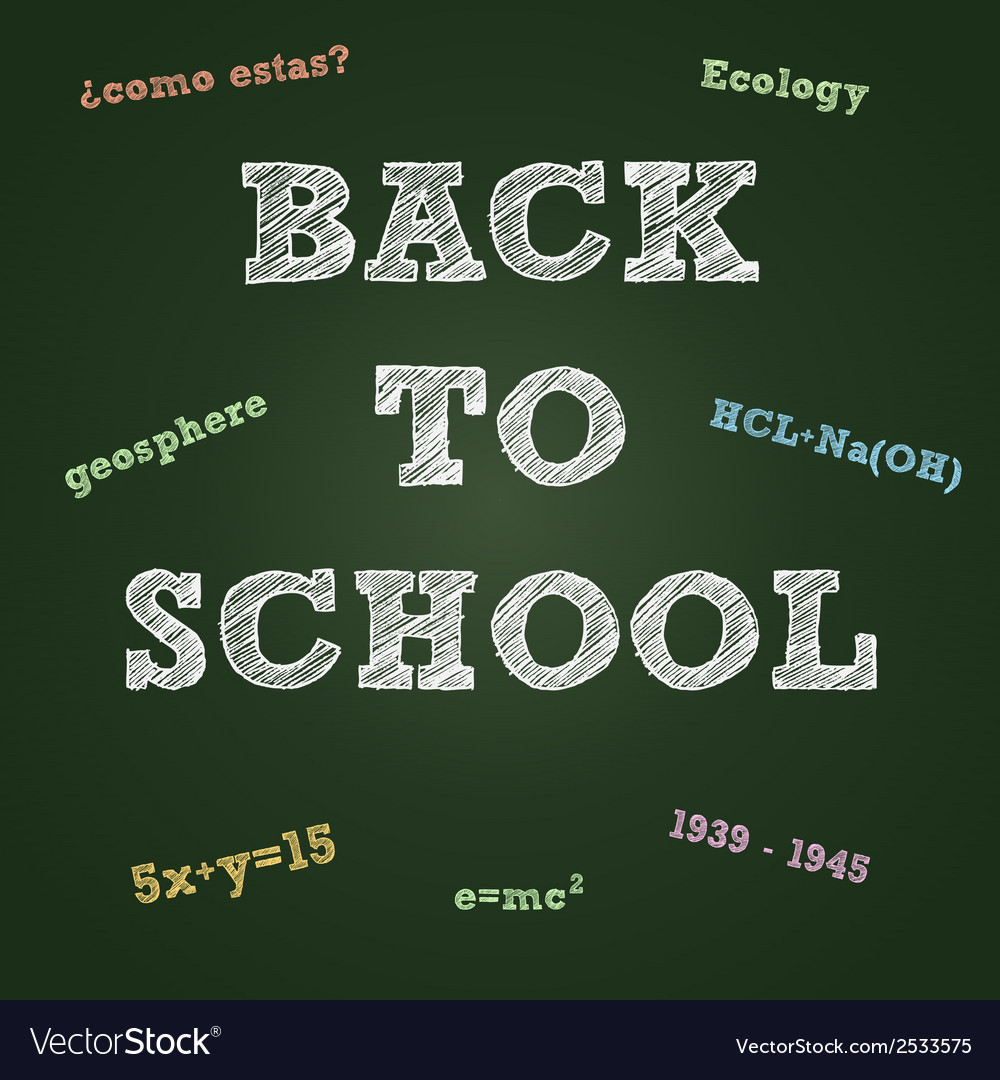 Back to school typography on a green board vector | Price: 1 Credit (USD $1)