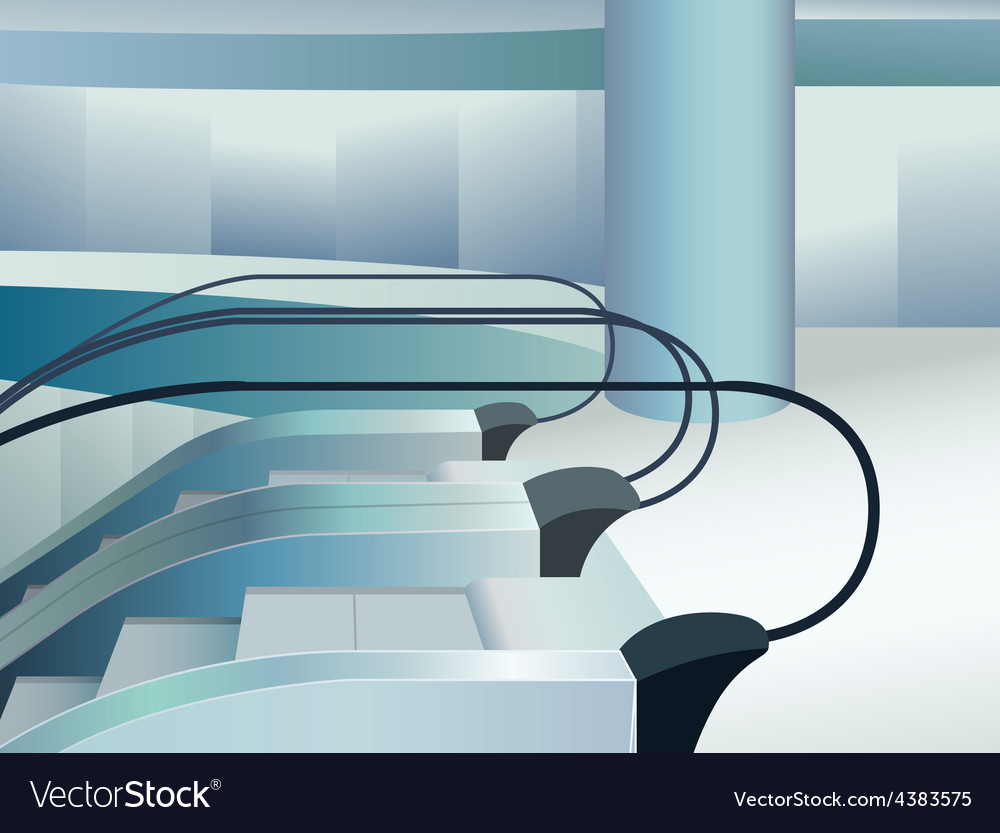 Blue escalators indoor in mall vector | Price: 3 Credit (USD $3)