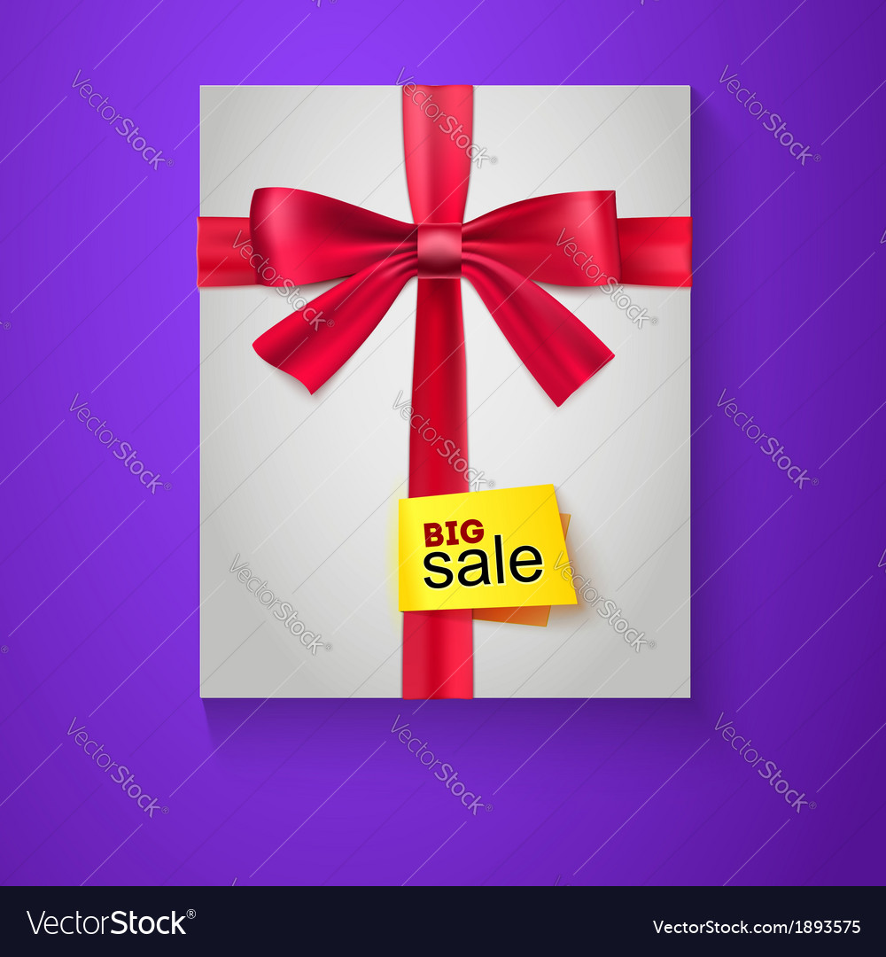Box red ribbon bow and the badge big sale vector | Price: 1 Credit (USD $1)