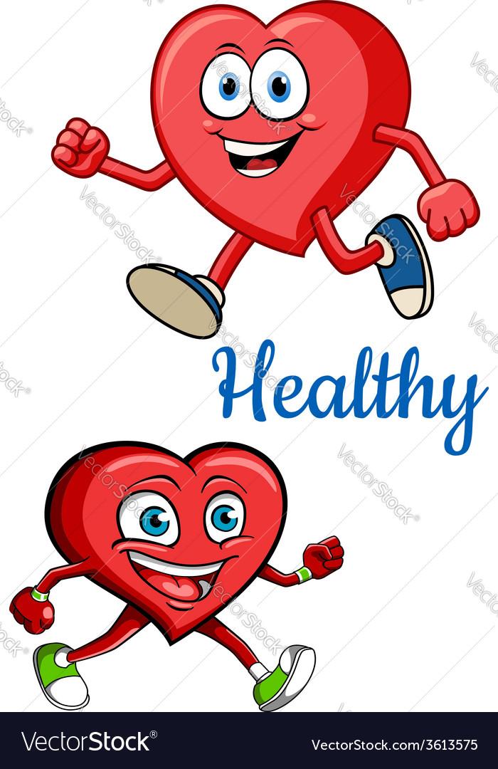 Cartoon running hearts concept vector