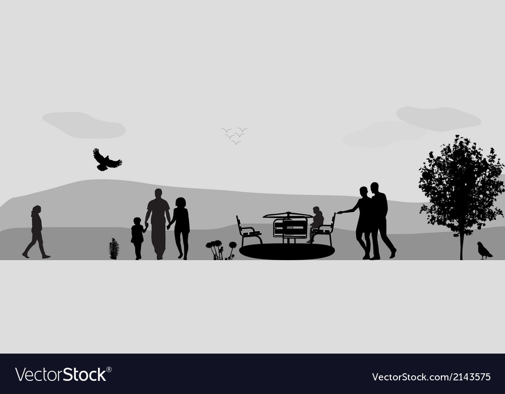 Children ride on a swing in the park vector | Price: 1 Credit (USD $1)