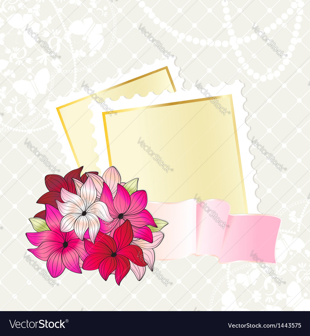 Floral card design with notepaper vector | Price: 1 Credit (USD $1)