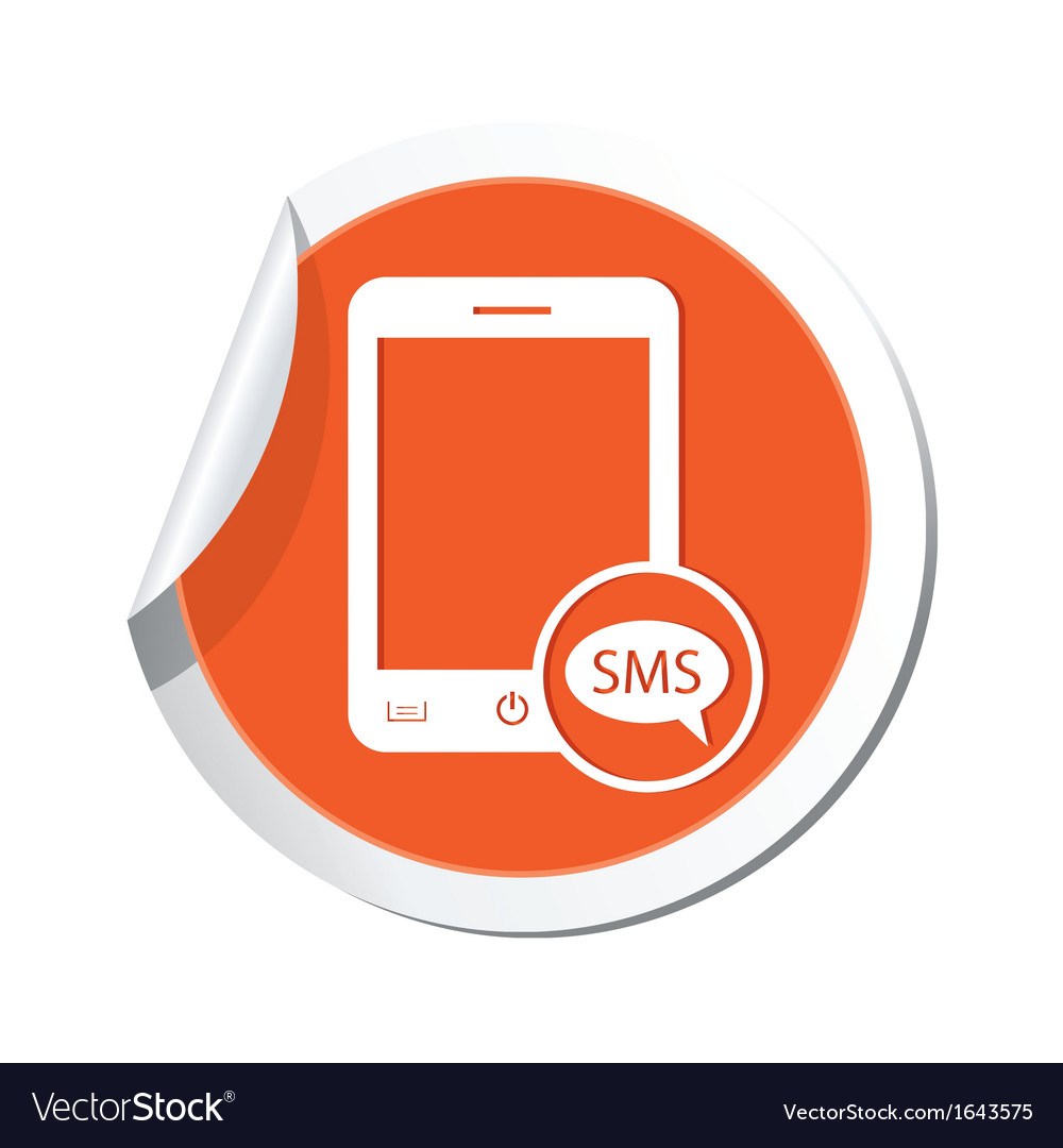 Phone sms icon orange sticker vector | Price: 1 Credit (USD $1)