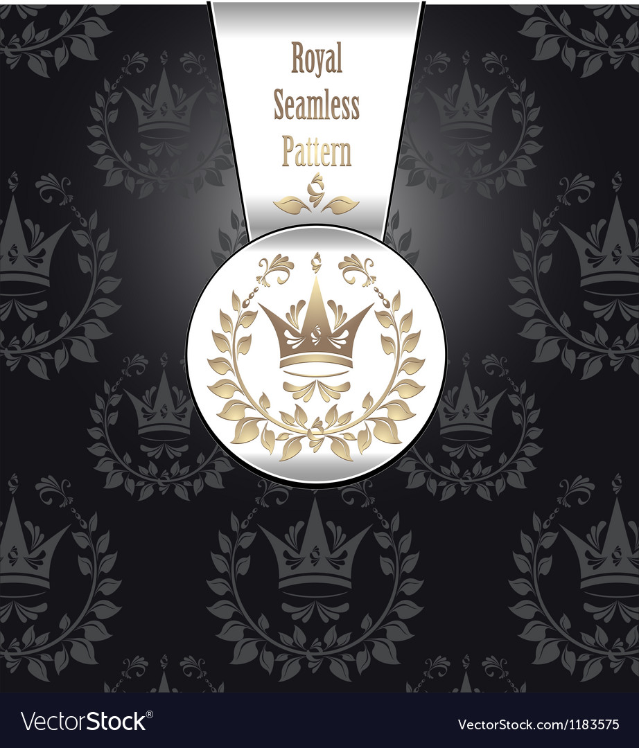 Royal seamless pattern with crown wreath leaves vector | Price: 1 Credit (USD $1)