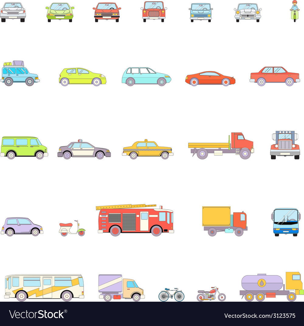 Stylish retro car line icons set isolated vector | Price: 1 Credit (USD $1)