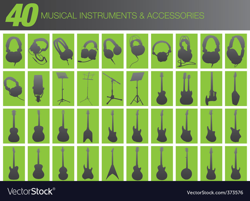 40 musical instruments and accessories vector | Price: 1 Credit (USD $1)