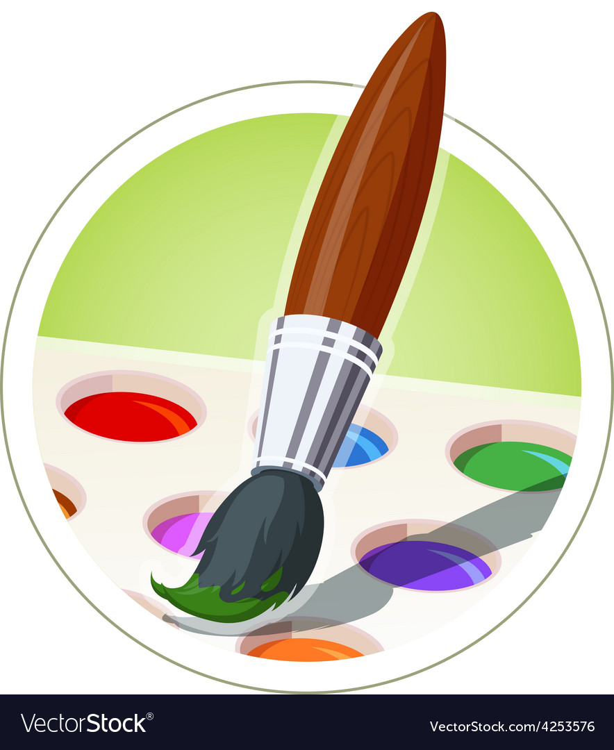 Brush and set of paint vector