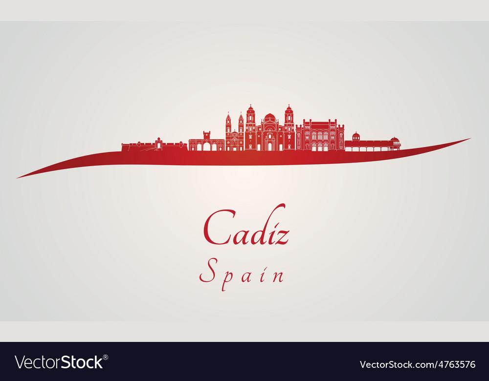 Cadiz skyline in red vector | Price: 1 Credit (USD $1)