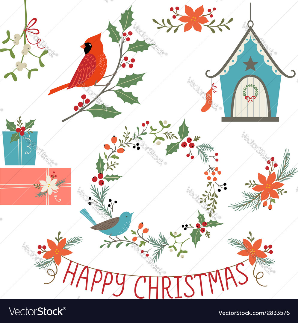 Christmas decorations and birds vector | Price: 1 Credit (USD $1)