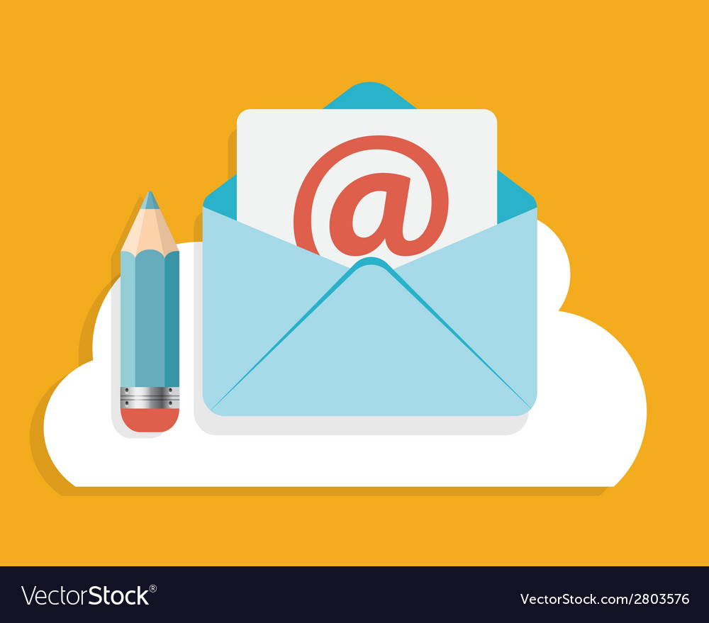 Flat design concept email write icon vector | Price: 1 Credit (USD $1)