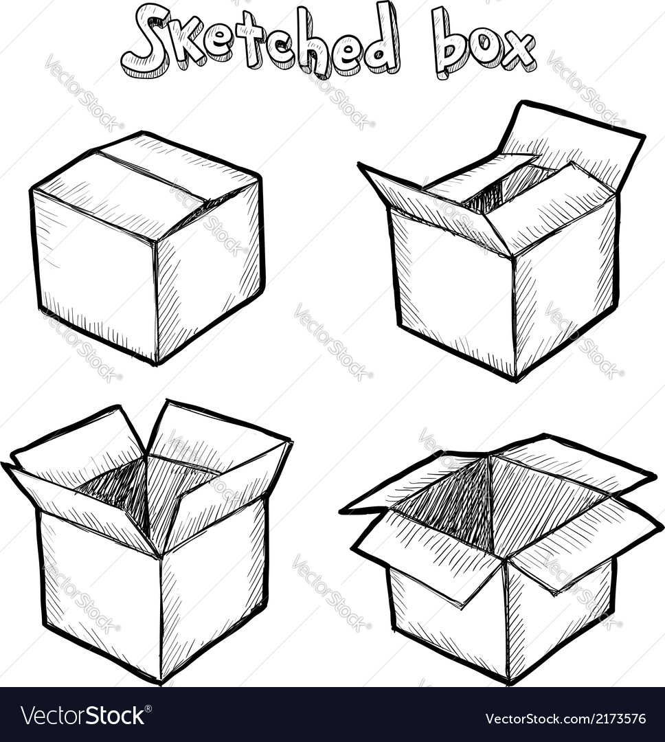 Hand-drawn open box vector | Price: 1 Credit (USD $1)