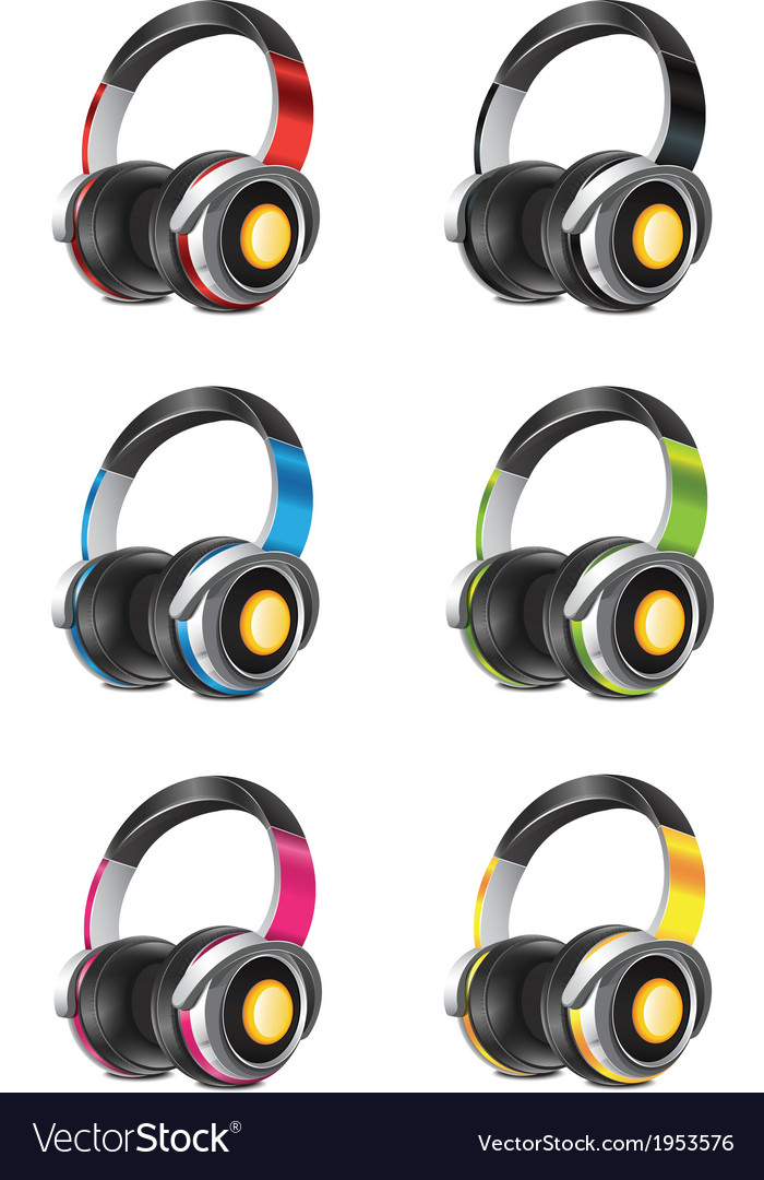 Headphones set vector | Price: 1 Credit (USD $1)