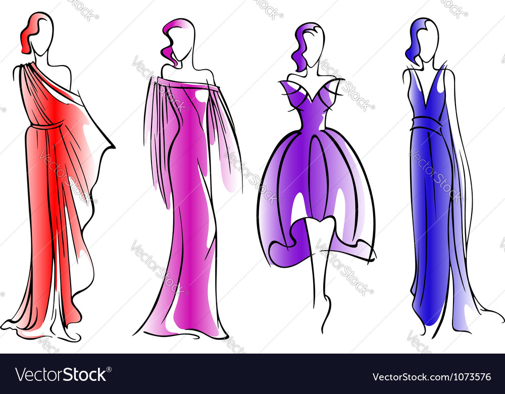 Modern fashion models of beautiful dresses vector | Price: 1 Credit (USD $1)