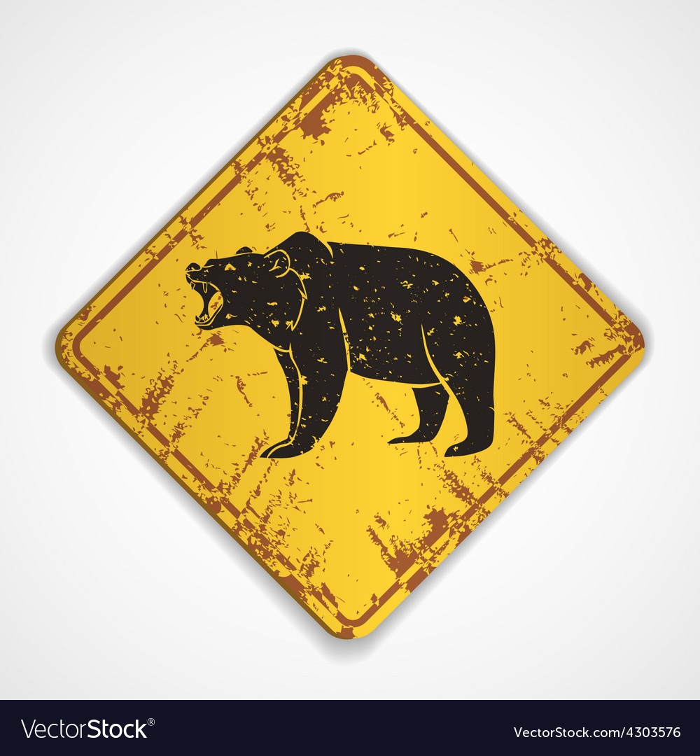 Old metal plate with bear vector | Price: 1 Credit (USD $1)