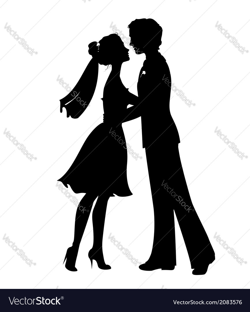 Silhouettes of bride and groom vector | Price: 1 Credit (USD $1)