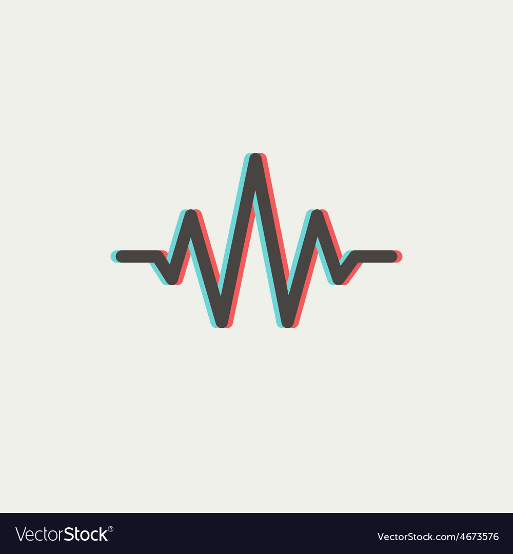 Sound wave beats thin line icon vector | Price: 1 Credit (USD $1)