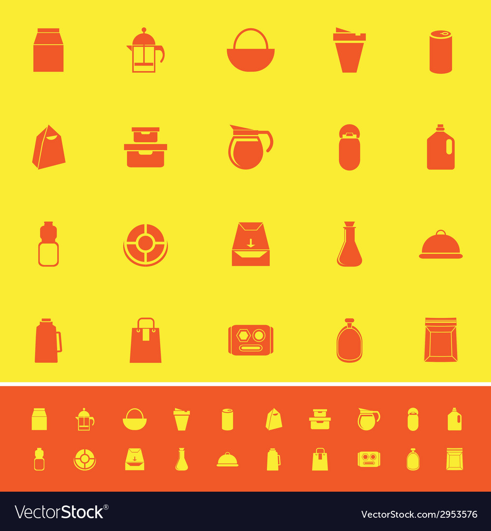 Variety food package color icons on yellow vector | Price: 1 Credit (USD $1)