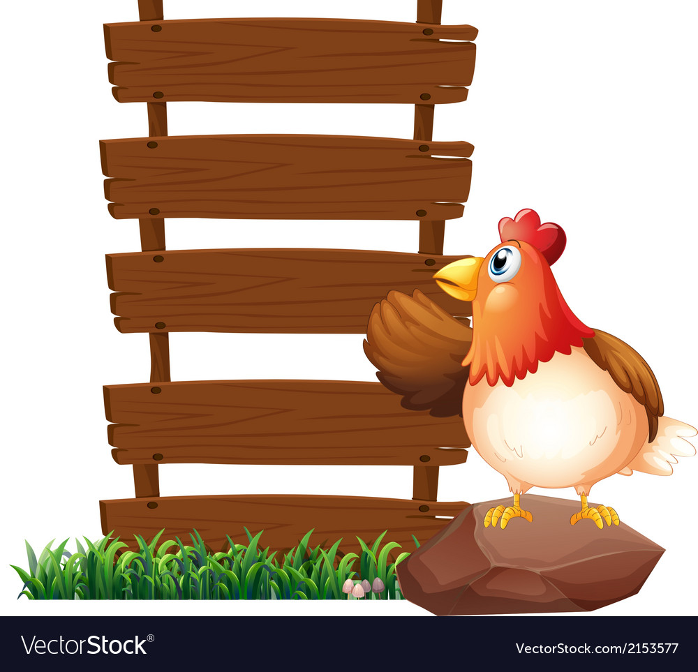 A hen beside the empty signboards vector