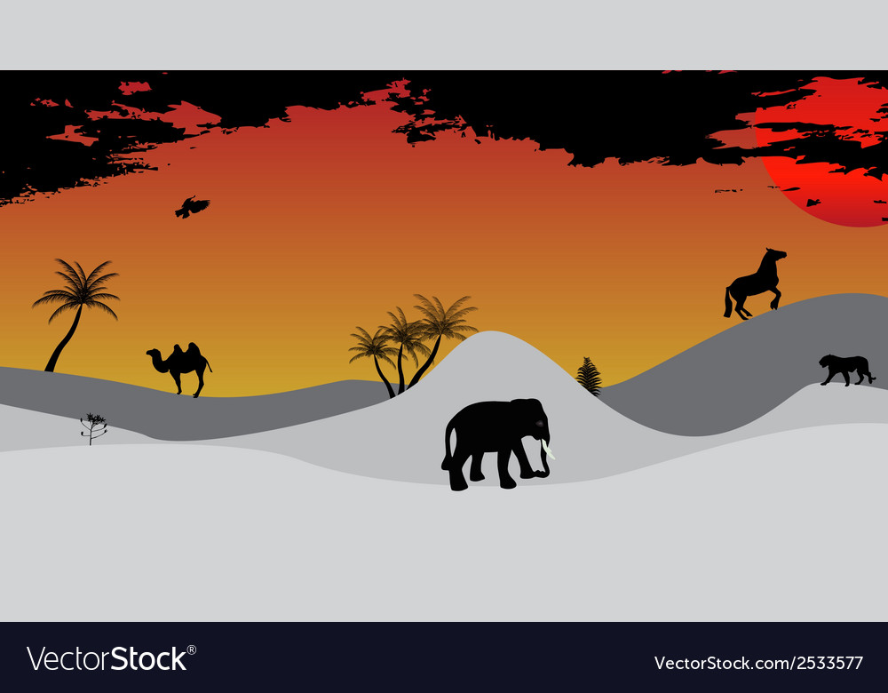 Africa safari tree wild animals vector | Price: 1 Credit (USD $1)
