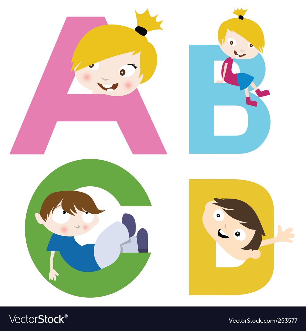 Boy and girl with alphabet vector | Price: 1 Credit (USD $1)