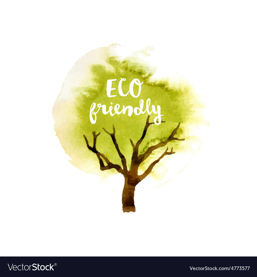 Eco friendly tree emblem vector | Price: 1 Credit (USD $1)