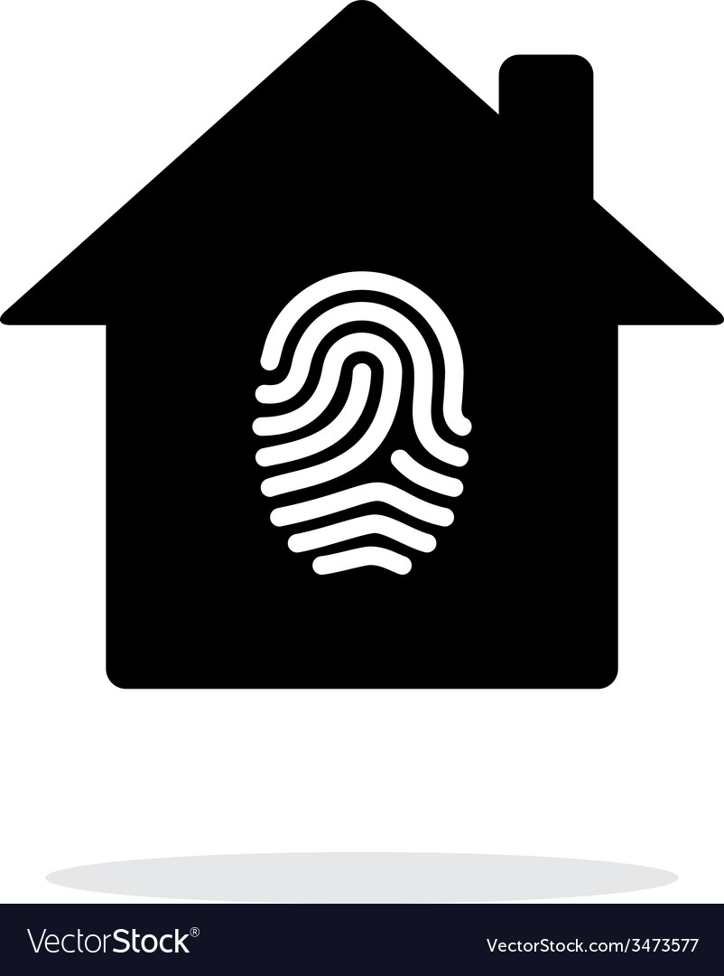 Fingerprint home secure icon on white background vector | Price: 1 Credit (USD $1)