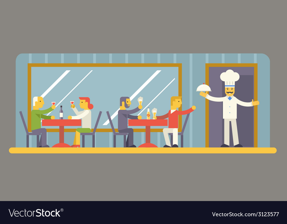 Restaurant cafe with chef and visitors characters vector | Price: 1 Credit (USD $1)