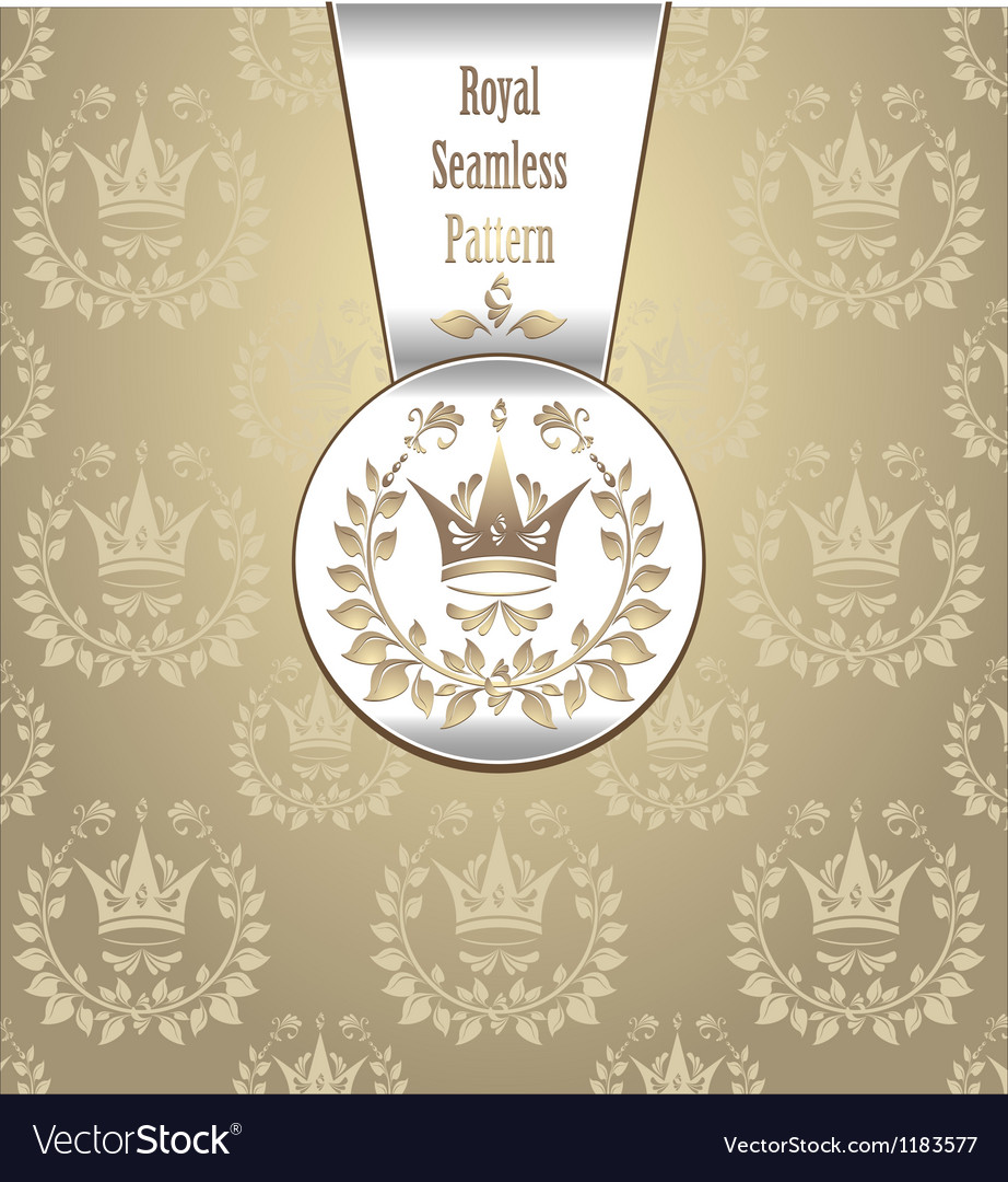 Royal seamless pattern with crown wreath light vector | Price: 1 Credit (USD $1)