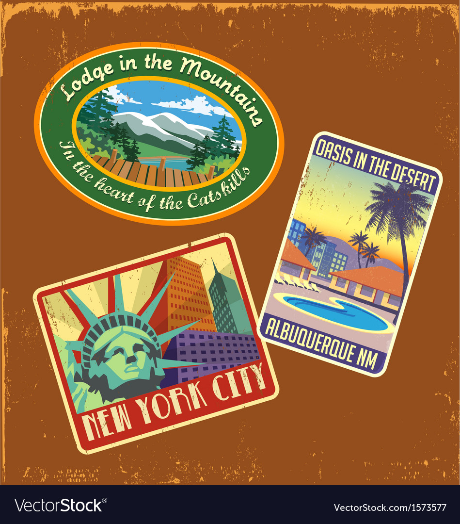 Vintage travel stickers 2 vector | Price: 3 Credit (USD $3)