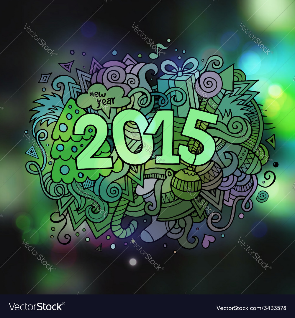 2015 year hand lettering and doodles elements vector | Price: 1 Credit (USD $1)
