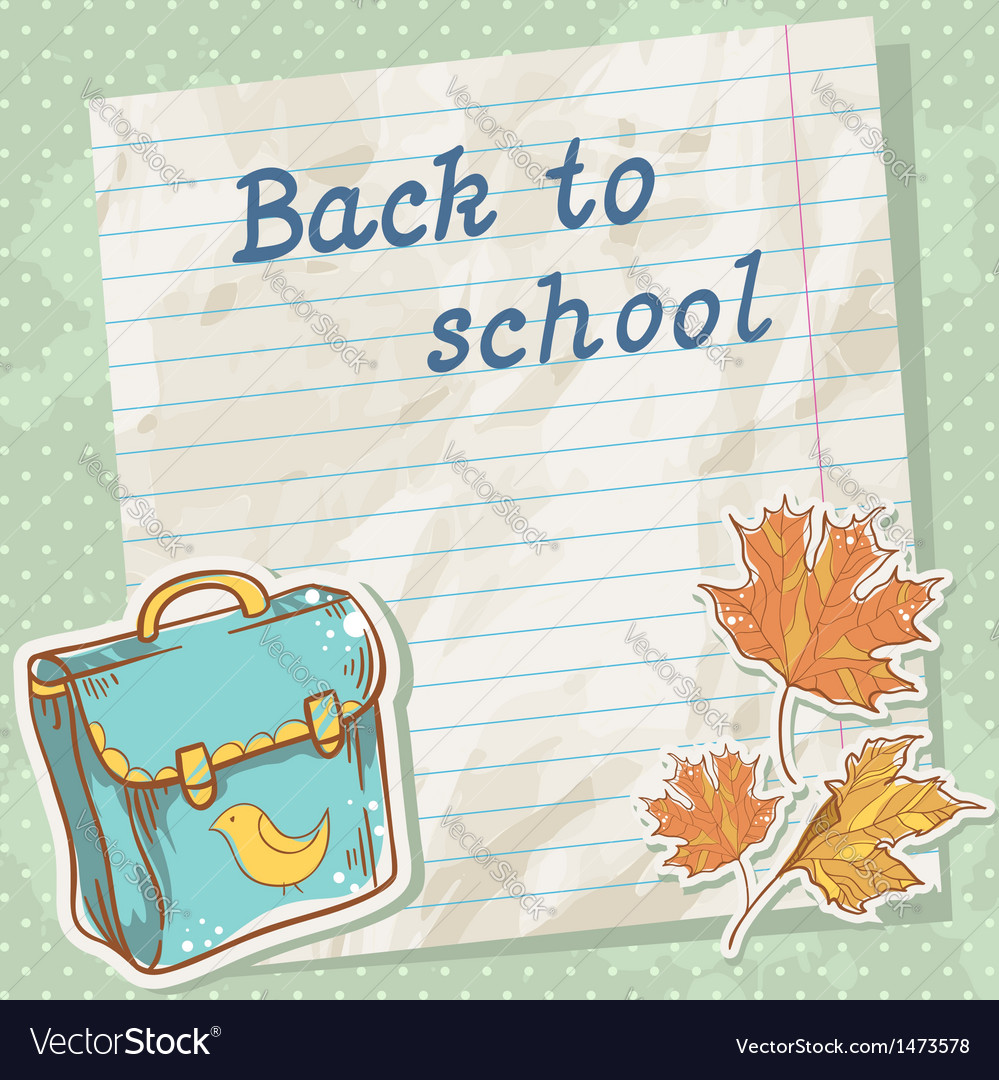 Back to school card on paper sheet vector | Price: 1 Credit (USD $1)